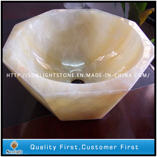 Polished Flower Shape Yellow Onyx Marble Granite Sinks for Bathroom pictures & photos