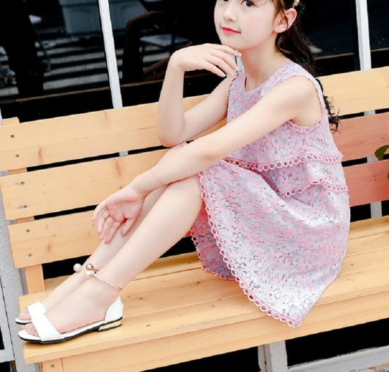 China Teenage Girls Princess Dress Summer Lace Pink Kids Dresses Teens Clothes Knee Length Dress Children Outfit Casual Wear Party Wear Esg14112 China Dress And Teens Dress Price