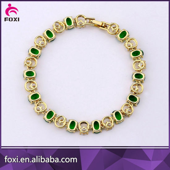 Fashion Copper Gold Plated Zircon Charm Bracelet Jewelry pictures & photos