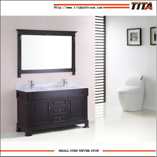 Solid Wood Bathroom Vanity Furniture Double Sink