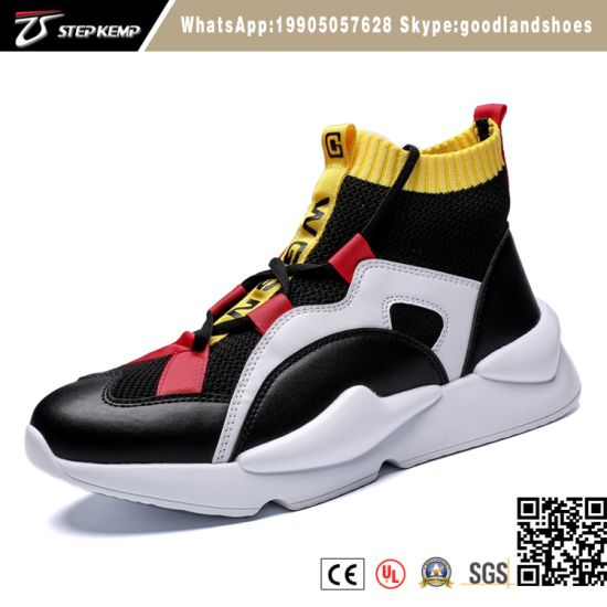 2019 Men Fashion Sneakers High Top Mesh Sock Sneakers Sports Breathable Causal Running Shoes Thick Soles 2707