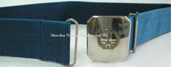 Navy Blue Belt with Alloy Silver Buckle for Police pictures & photos