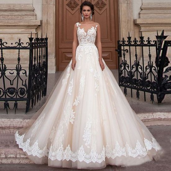 2018 Ball Gown Prom Evening Lace Ivory Bridal Wedding Dresses