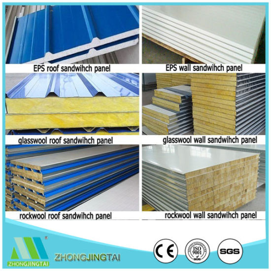 Metal Materials Steel EPS/Rockwool/Glasswool/PU Sandwich Panel for Warehouse/Storage/Prefab House pictures & photos