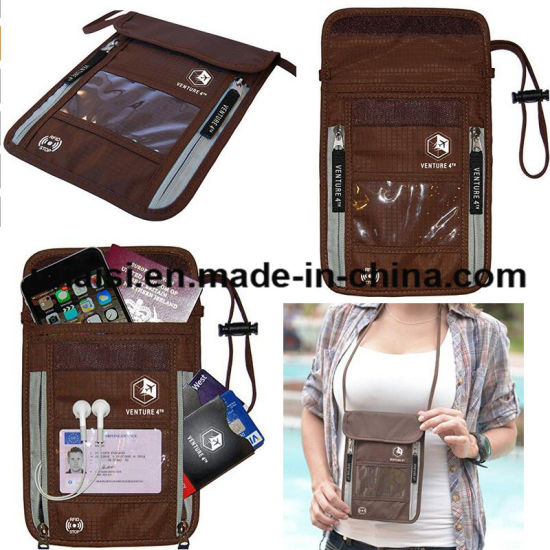 bd39af41b3d7 China Theft Protection Hidden RFID Passport Holder Neck Travel ...