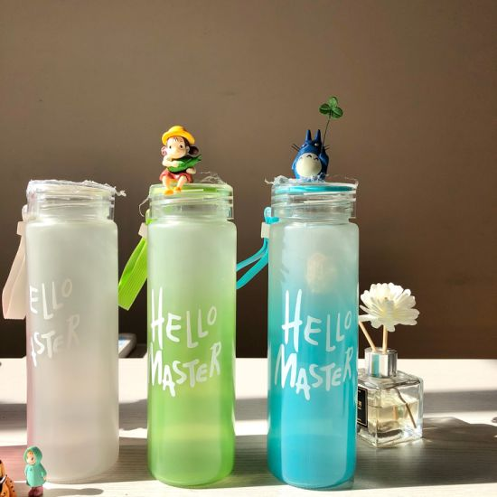Wholesale Factory Price Clear Frosted Glass Sports Water Bottle with Capacity Scale Mark Level Infuser Bottles 480ml 550ml