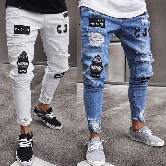 Zipper Knee Skinny Hole Men's Motorcycle Pants Stretch Denim Jeans