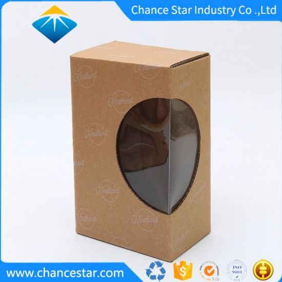 Custom Printing Kraft Corrugate Paper Packaging Box with PVC Window