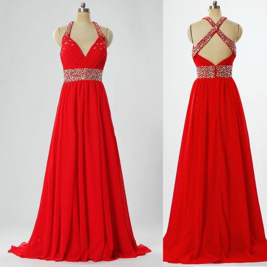 Ladies Straps Bead Long Chiffon Red Celebrity Evening Dresses E397