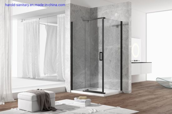 China Stailess Steel Matt Black Header Pivot Shower Door China Shower Enclosure Shower Door