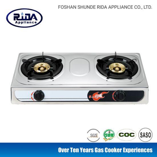 Stainless Steel 2 Burner Steel Cap Kitchen Appliance Gas Cooker