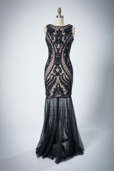 Ladies Sleeveless Back Deep V-Bead Evening Dress
