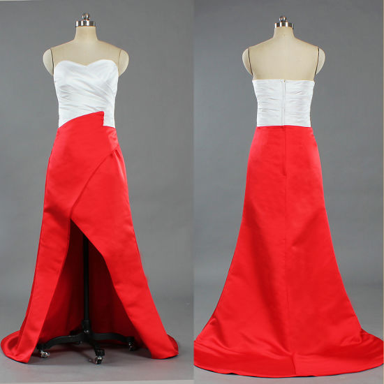 E502 New Design Dress White and Red Evening Dresses Asymmetric Satin Gown