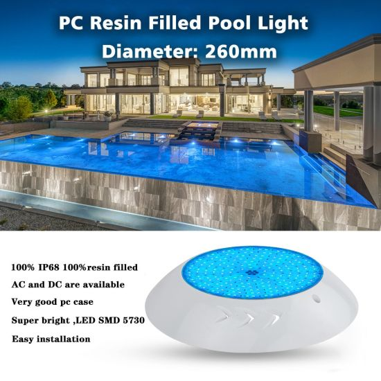CE RoHS IP68 Reports RGB PC Resin Filled Wall Mounted Swimming Pool Lights with Two Years Warranty