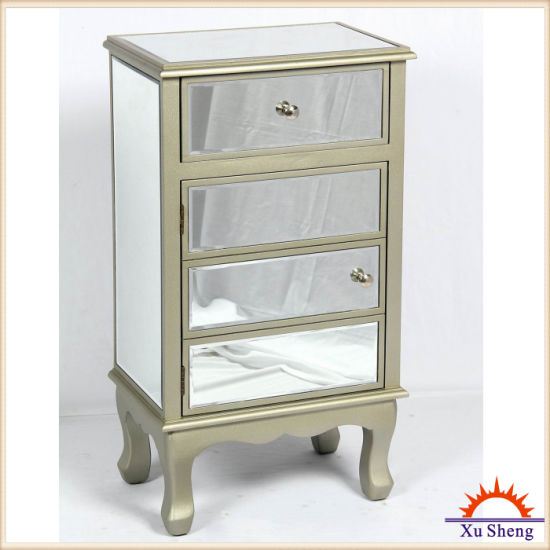 3-Drawer Large Mirror Storage Cabinet with Champagne Wood Frame pictures & photos