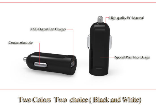 Newest Black /White Color 5V 2.1A USB Car Charger Adapter pictures & photos