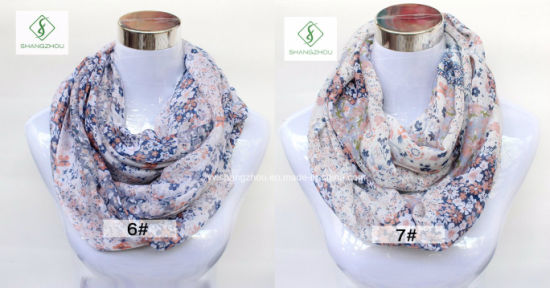 2017 Hot Sale Europe Floral Printed Fashion Lady Infinity Scarf pictures & photos