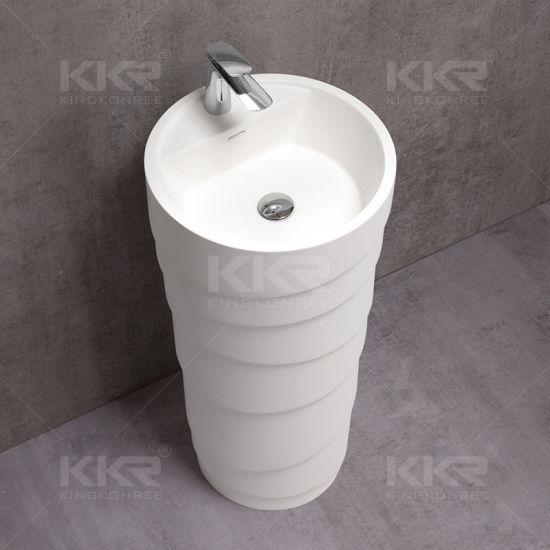 Bathroom Accessories Solid Surface Artificial Stone Round Pedestal Sink  (171128)