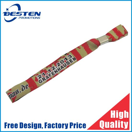 Top Quality Widely Use Woven Print Festival Fabric Wristband Bracelet