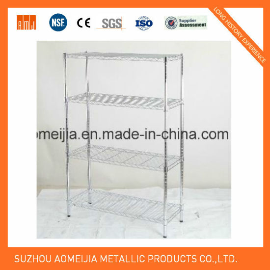 4 Tiers Inclined Chrome Display Wire Shelving Rack at Canton Fair Exhibition