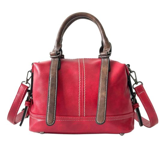PU Lightweight Shoulder Lady Bags Red Customized Handbags