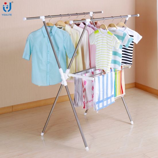 7b22d81386bf China Foldable Stainless Steel Extendable X-Type Clothes Hanger ...
