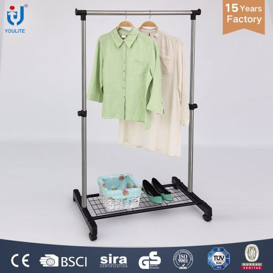 Extendable Stainless Steel Single Rod Clothes Hanger with Mesh Metal Clothes Dryer