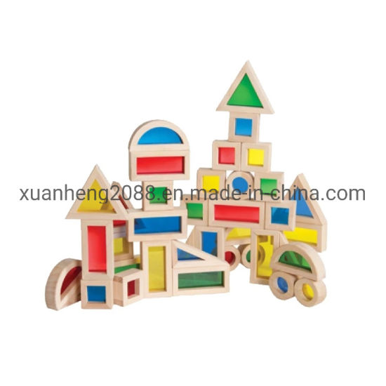 Preschool Kids Wooden Toys Big Colorful Building Acrylic Blocks 16PCS Set Enlighten Brick Toys