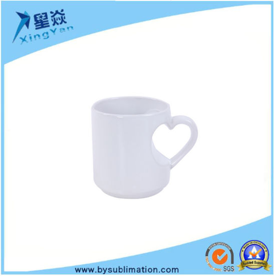 2f0b19f3786 China 12oz Heart Shape Handle White Mugs - China White Color, 12oz