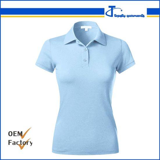 Custom Guangzhou Pique Cotton Plain Blank Women's Polo Shirts
