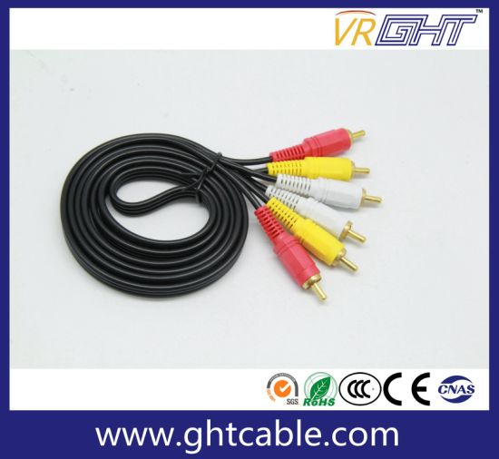 1.8m 3RCA to 3RCA Male to Male Audio Cable (M/M) pictures & photos