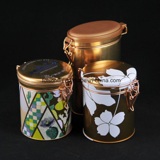 Round Airtight Wholesale Round Copper Tea Tins with Lockable Design and Lid pictures & photos