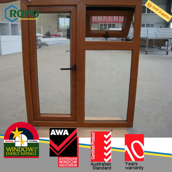 China Wooden Grain Awning Windows Pvc Double Glass Windows Price