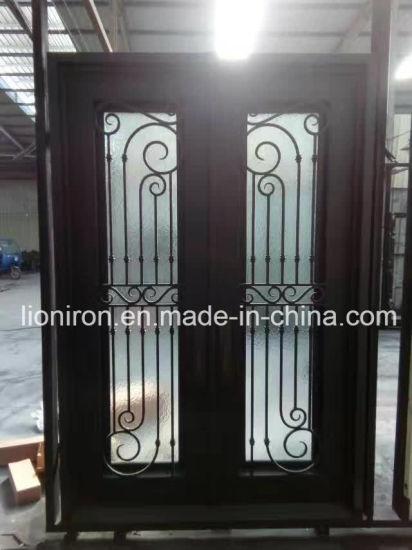 Modern Front Security Door Square Top Wrought Iron Door With Rain Glass