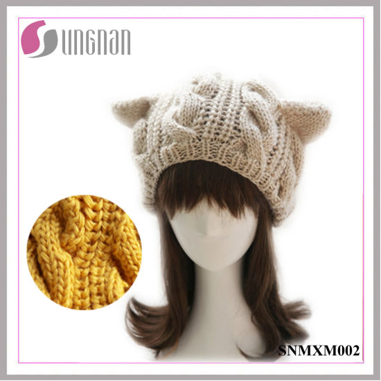 Winter Wool Hat Knitted Beret Cute Cat Ears Twist Cap pictures & photos