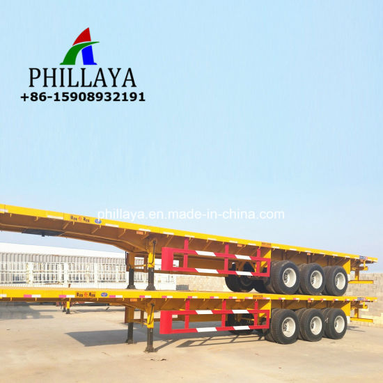 20FT 40FT Container Transport Truck Semi Flatbed Trailer pictures & photos