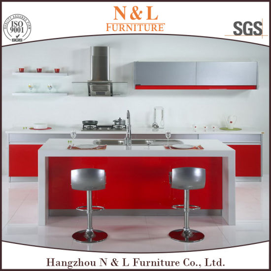 China N L Red Color Island Design Cabinet Store Kitchen Furniture