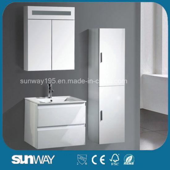 Modern Waterproof Wall Mounted Hotel MDF Bathroom Cabinets with Sink