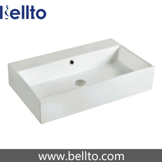 Rectangular Bathroom Wall Hung Ceramic Basin for Bathroom Furniture (3318B) pictures & photos