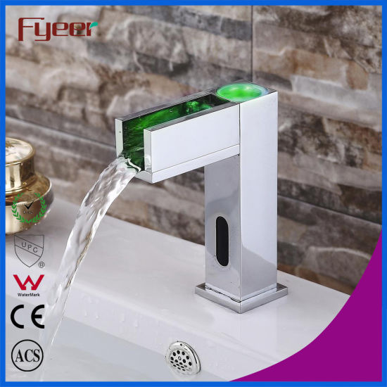 Fyeer Bathroom Waterfall Basin Tap Automatic Sensor Faucet With LED  (QH0155F)