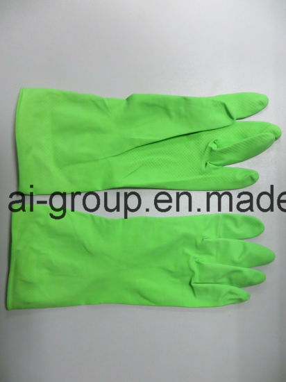 Household Long Working Green Latex Waterproof Gloves with SGS Approved pictures & photos