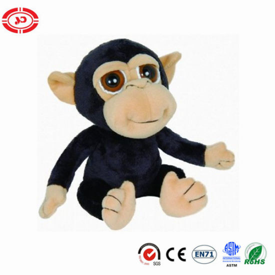 China Big Eyes Chimp Black Monkey Plush Sitting En71 Soft Toy