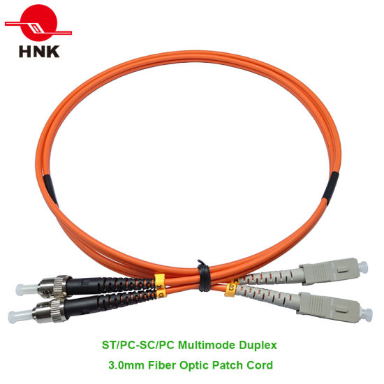 ST/PC-SC/PC Fiber Optic Patch Cord, Multimode 50 Om2, Duplex, Orange,  3 0mm, Custom Length