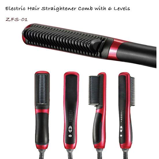 Anti Static Ceramic Straightening Brush Comb Hair Straightener