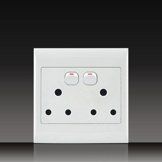 South Africa PC Material Double 16A 250V Push Button Electrical Wall Switch Socket 4*4 (S120B13-1)
