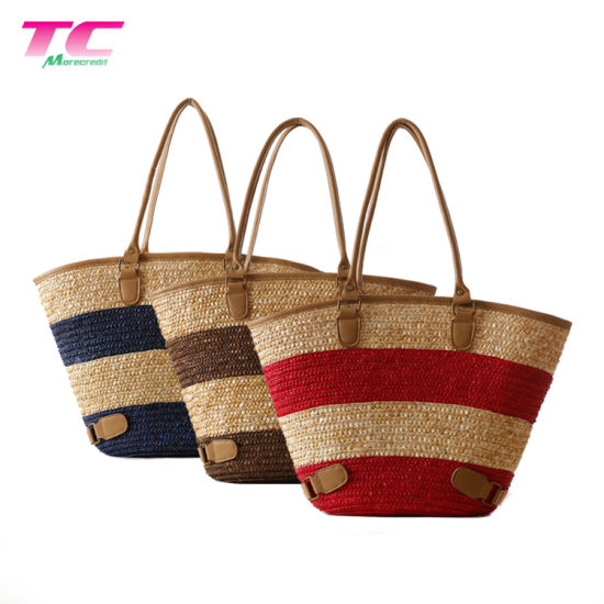 LADIES WOMENS CANVAS STRAW BEACH BAG LARGE SHOULDER TOTE SUMMER HOLIDAY FASHION