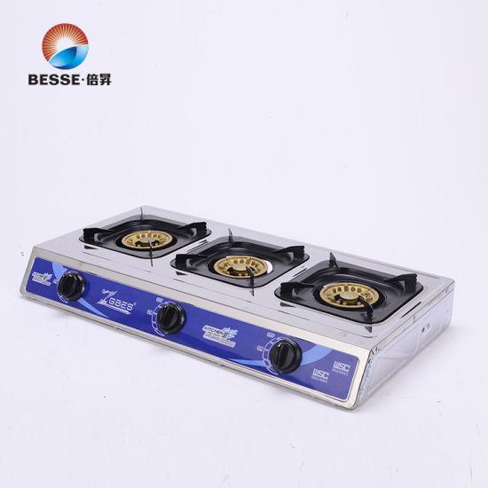 3 Gold Burner Stainless Steel Gas Cooker ZG-3078