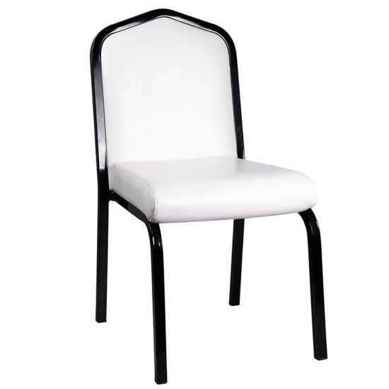 Customized Dark Frame White PU Leather Aluminum Banquet Chair (HM-S030)