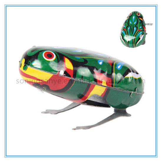 dfe14a2038fb China DTY0139 Kids Classic Tin Wind up Clockwork Toys Jumping Frog ...