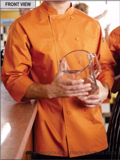 Customized Fashion Workwear Basic 3/4 Sleeve Kitchen Wear Colored Chef Coat Uniforms